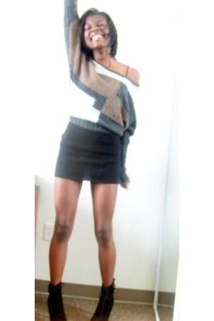 black boots - brown sweater - black skirt