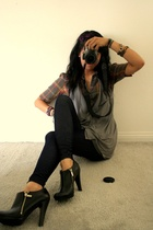 gray Target vest - black zipper Jessica Simpson shoes - gray Nordstrom shirt