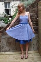 sky blue floral vintage dress - light pink new look wedges