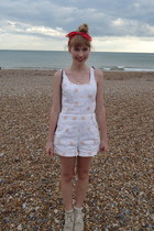embroidered vintage romper - crocheted new look boots - frilly Topshop socks
