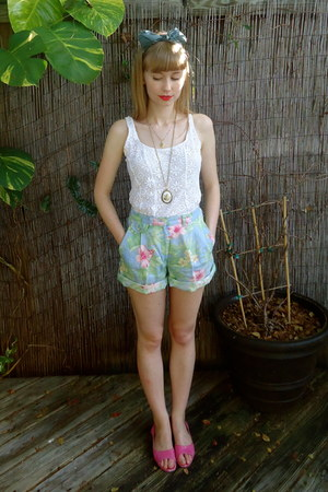 light blue hawaiian print ralph lauren thrifted shorts