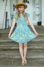 mustard thrifted hat - aquamarine floral Amour dress - nude new look flats