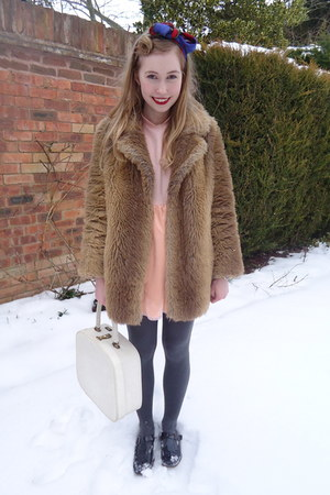 light brown faux fur vintage coat - peach Bobbie and Lola dress