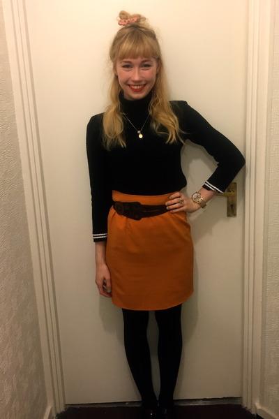 black polo vintage sweater - light orange vintage skirt