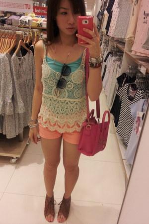 hot pink bag - neon orange shorts - floral frame sunglasses - brown wedges
