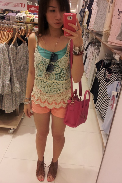 hot pink bag - neon orange shorts - floral frame sunglasses - brown wedges