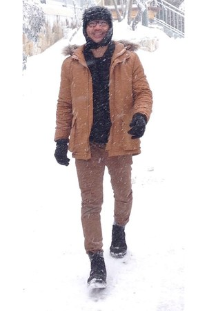 black boots - black H&M hat - bronze Topman jacket - brown cotton on pants