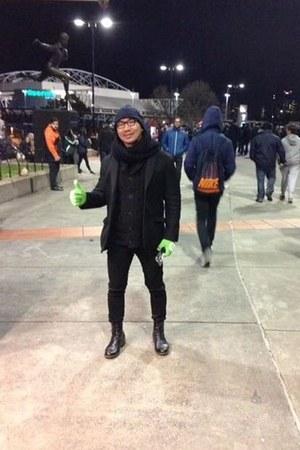 H&M boots - black Topman jeans - navy binnie H&M hat - black H&M scarf