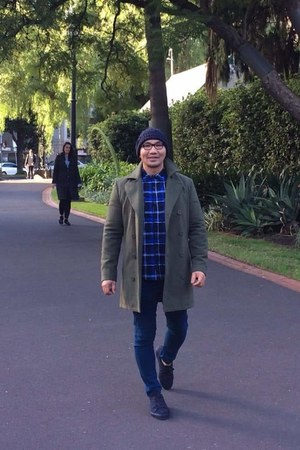 navy H&M shoes - olive green unknown coat - blue plaid unknown shirt