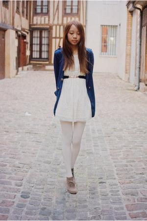 navy Causewaymall cardigan - cream lace Causewaymall dress - black felicee belt