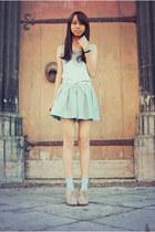 aquamarine zipia shorts - sky blue H&M top