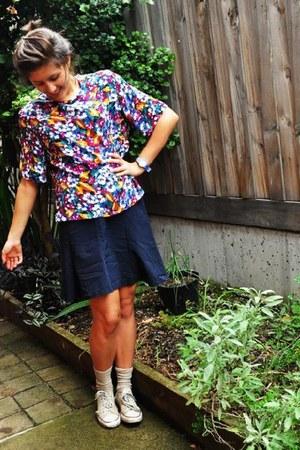 thirft top - thirft skirt - Converse sneakers