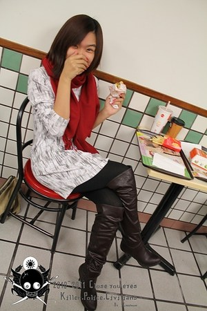 red sweater - white dress - black leggings - dark brown boots