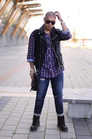 leather biker vest - doc martens boots - plaid H&M shirt