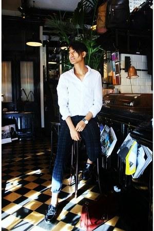 white H&M shirt - black asos shoes - teal H&M pants