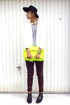 white Topshop jacket - black leather Clarks boots