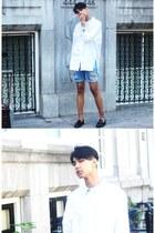 white asos shirt - crimson Zara shoes - blue asos shorts