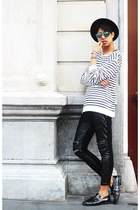 black shoes - black asos hat - blue asos sunglasses - black Zara pants