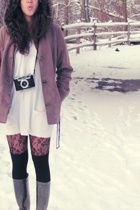 jacket - dress - yaschica - tights - H&M socks - boots