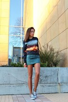 OASAP sweatshirt - green quilted Bershka skirt