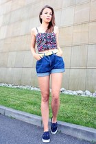 crop top OASAP top - navy Vans sneakers