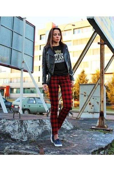 tartan Front Row Shop pants - black H&M jacket - black Stussy t-shirt