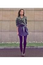 dark brown Marks & Spencer boots - army green camo Zara shirt