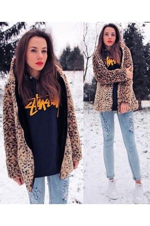 faux fur style moi coat - light blue denim style moi pants