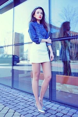 white leather Vila skirt