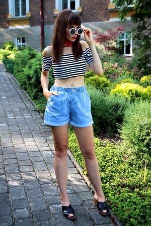 light blue denim romwe shorts