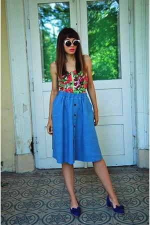 sky blue romwe skirt