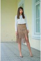 camel DressLink skirt - white DressLink blouse