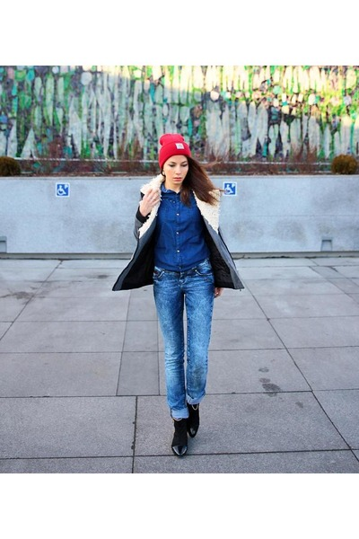 gray wendybox jacket - ruby red Carhartt hat - navy Bershka shirt