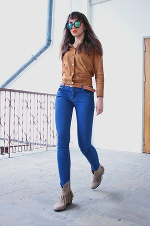 blue CNdirect jeans - camel AmiClubWear boots - brown CNdirect sunglasses