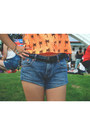 Orange-forever-21-top-brown-aldo-boots-navy-highwaist-greenhills-shorts