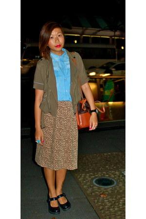 army green bangkok jacket - sky blue Kuala Lumpur shirt - beige vintage skirt -