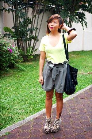 yellow Forever 21 t-shirt - army green bought online shorts - black cotton on ba
