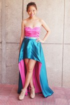 hot pink corset intimate - turquoise blue long back skirt