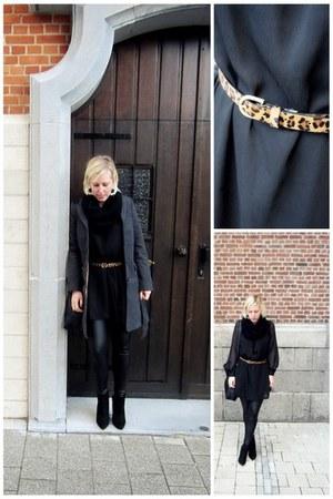 black H&M dress - black H&M jacket - bronze Bershka belt - black H&M pants