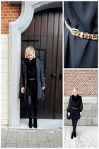 black H&M dress - black H&M jacket - bronze Bershka belt - black H&M pants