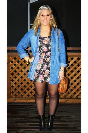blue GINA TRICOT shirt - black Topshop dress - black Again & Again shoes - brown
