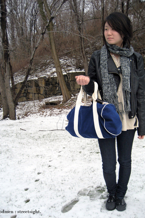 black jacket - blue jeans - blue accessories - gray scarf - beige shirt - gray s