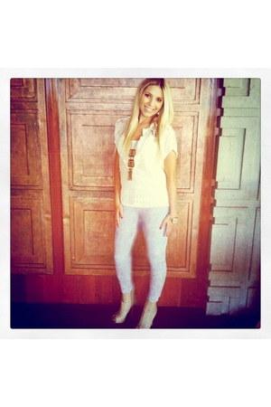 off white Forever 21 boots - light blue jeggings Beulah jeans - camel vintage ne