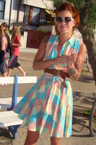 H&M dress - turquoise Electric sunglasses - brown H&M belt - yellow