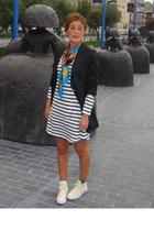 Oysho dress - Pili & MIli scarf - clara couture blazer - Converse shorts