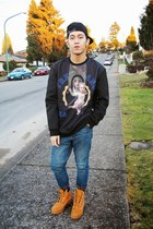 navy Topman jeans - mustard Timberland boots - navy Trendiano sweater