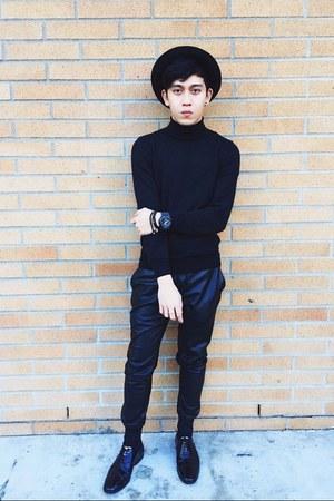 black oxfords shiny Zara shoes - black round H&M hat