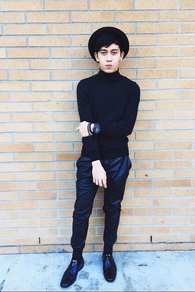 5e170aae6b4 black oxfords shiny Zara shoes - black round H M hat