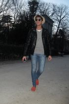 black Zara jacket - silver H&M sweater - white H&M t-shirt - Zara jeans - red Ma