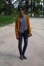 Blue-mango-t-shirt-gold-h-m-cardigan-zara-jeans-silver-zara-shoes-rayban